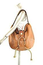 "Authentic MARNI British Tan Large Leather Hobo Handbag w Rope Accent 16"" x 15"""