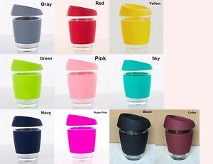 Reusable 350ml 12OZ Glass Coffee / Tea Mug Silicone Handle Lid In Multi Color