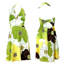 Madison Leigh Womens Dress 10P Green White Floral Halter Fit & Flare Casual