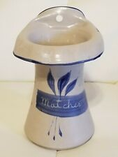 Williamsburg Pottery Matches Match Holder Wall Hanger Blue Country Farmhouse