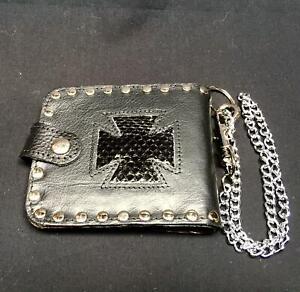 Iron Cross Genuine Sea Snake Skin Leather Bi-fold Wallet Key Belt Chain Biker