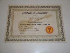 1965 VINTAGE FENDER ELECTRIC GUITAR COURSE CERTIFICATE OF ACHIEVEMENT BIN $9.95
