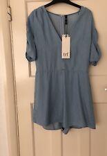 6669a7c160a Zara Light Blue Tencel Denim Short Jumpsuit Playsuit Size S