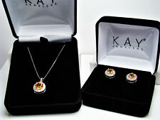 Beautiful Kay Jewelers Citrine & White Sapphires Necklace W/ Matching Earrings