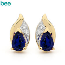 PEAR Sapphire Diamond 9ct 9k Solid Yellow Gold Stud Earrings