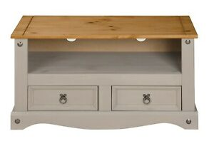 Corona Grey Flat Screen TV Stand 2 Drawer Unit Cabinet Solid Wax Pine Mexican