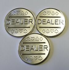 3x Silver Plated Metal Dealer Buttons in Case for Poker Games like Texas Hold'em