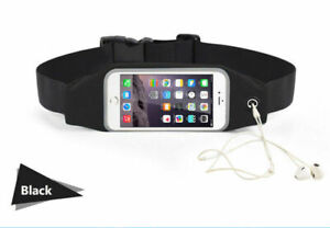Universal Negro Trote Correr Teléfono Cinturón Bolsa para Móvil Hasta 14cm