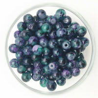 NEW 30PCS 8mm Glass Round Pearl Spacer Loose Beads Pattern Jewelry Making 10
