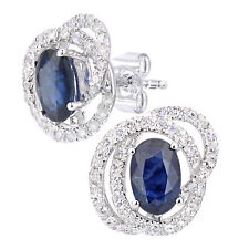 Naava 9ct White Gold Oval Sapphire and Diamond Cluster Stud Earrings
