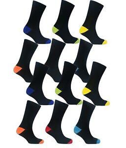 12 Pairs Of Men's Socks Designer Cotton Rich Casual Work Dress Socks, Size 6-11
