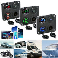 12V Dual USB Charger Power Socket Outlet Plug Switch Panel Mount For Boat Bus RV