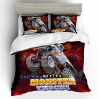 Monster Truck Red Quilt/Doona/Duvet Cover Set Single/Double/Queen/King Size Bed