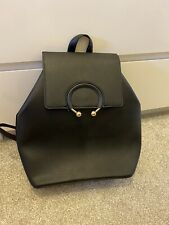 Women's Black Faux Leather Primark Backpack With Gold Detailing Adjustable