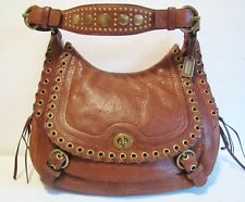"RARE 10971 COACH Tobacco ""Abbey Leather Flap Hobo"" Laced Studded $798 VGC"