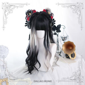 Lolita Cosplay Princess Curly Hair Sweet Black Ombre Gray Daily Wig Hairpiece