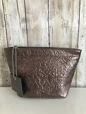 Anthropologie Monserat De Lucca Anthracite Gray Bronze Zip Cosmetic Pouch Clutch