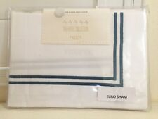 """FRETTE EURO Sham ITALY Hotel Collection Bourdon White Blue Embroidered 26x26""""NEW"""