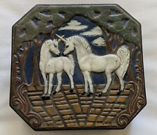 Unicorn handcrafted ceramic trinket box / Octagon shaped / 2 unicorns in forest