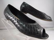 "FC14 VTG Trotters Brazil ""Felice"" Woven Leather Peep-toe Flats Black Size 7.5"