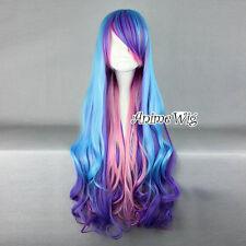 My Little Pony Princess Celestia Purple Blue Long Curly Cosplay Wig + Wig Cap