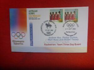 2000 OLYMPICS EQUESTRIAN AUS GOLD COVER PAIR STAMPS PICTOGRAM & SPEC  FDI PMK