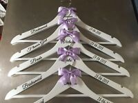 Personalised Wedding Dress Hangers Set of 9 Bridal/Bridesmaid/Gift/Wooden/Prom