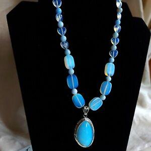 Statement Opalite & Blue Lace Agate Bead Pendant Necklace, Silver Tone