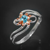 Fine Art Jewellery Natural Gem Blue Topaz .925 Sterling Silver Ring / RVS262