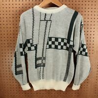 vtg 80s 90s Ferruche sweater LARGE abstract print ugly cosby new wave goth