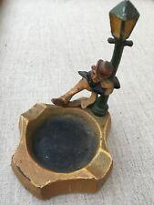 Vintage cast iron ashtray ( drunk man hold a light post )