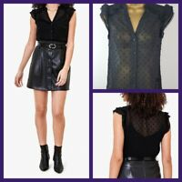 New Ex Oasis Ladies BLACK Dobby Spot shirt Size 6 - 18