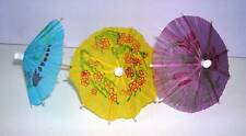 24 x PARTY DRINKS COCKTAIL UMBRELLAS PARASOLS  - ASSORTED COLOURS - UK SELLER.