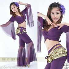 New Sexy Belly Dance Costume Set Top & Pants Purple