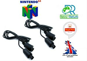 X 2 N64 Nintendo 64 Controller Extension Cable 1.8m - UK Seller Fast Free Post