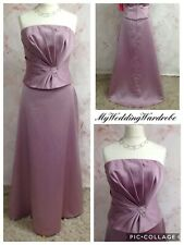 GLAMOROUS PINK CORSET and SKIRT SATIN STRAPLESS OCCASION DRESS LONG PLUS 18 NEW