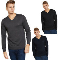 MENS PLAIN LONG SLEEVE V NECK SOFT KNITTED CASUAL FORMAL JUMPER PULLOVER TOP NEW
