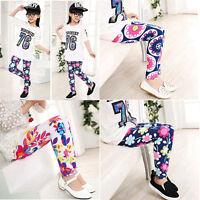 Baby Kids Girls Leggings Pants Floral Printed Elastic Trousers For 3-10 Years