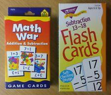 "2 Math Flash Card Sets ""Math War Addition & Subtraction"" and ""Subtraction 13-18"""