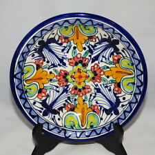 "MEXICAN TALAVERA POTTERY BOWL HAND PAINTED SIGNED ""Q"" 8 1/4"" ACROSS  X  2 1/2"" D"