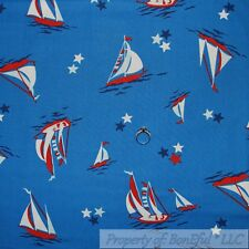 BonEful Fabric FQ Cotton Quilt Blue Red White American Flag Star Sail Boat Water
