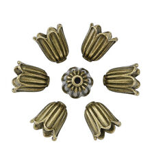 20 Pcs Cadmium Free Antique Bronze Flower Tibetan Style Alloy Bead Caps 10x10mm