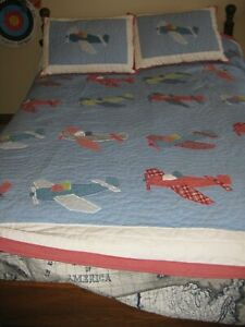 Pottery Barn Kids Full/Double Quilt Airplanes and (2) Shams