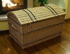 WICKER CHEST STORAGE Trunk Solution Willow Box Toy Blanket Linen Pirate 100 cm K