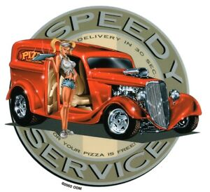 HOT PIZZA DELIVERY GIRL in 1930's Panel Wagon Hot Rod Sticker iPad Tablet Decal