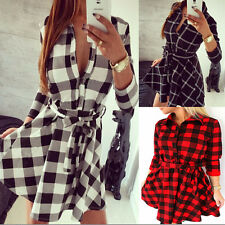 Winter Dress Women grid printed long sleeve casual plaid mini dress