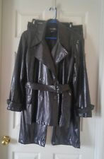 VTG 90s Black Pleather Snake Skin Print Peacoat and Pants Size M and 13