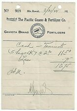 1928 Hilo Pacific Guano & Fertilizer Co Gaviota Sugarcane Hawaiiana Laysan Is.