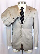 NWT ISAIA Beige Herringbone Super 160's Sciammeria Flat Front Suit 46 36 36R $4K