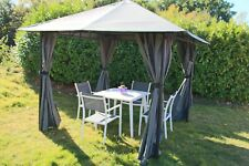 3m x 3m Gazebo Marquee Heavy Duty Garden Tent Waterproof With Full Side Curtains